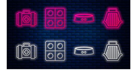 Set line Dog and pills, Pet food bowl, Pet first aid kit and Pet carry case. Glowing neon icon on brick wall. Vector Иллюстрация