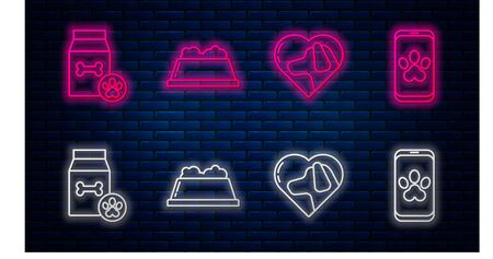 Set line Pet food bowl, Heart with dog, Bag of food for pet and Online veterinary clinic symbol. Glowing neon icon on brick wall. Vector Иллюстрация