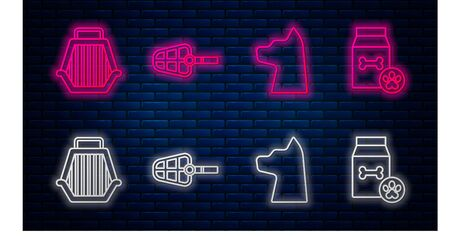Set line Dog muzzle, Cat, Pet carry case and Bag of food for pet. Glowing neon icon on brick wall. Vector