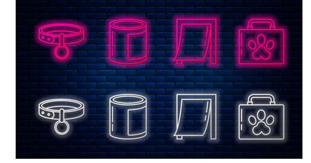 Set line Canned food, Door for pet, Collar with name tag and Pet first aid kit. Glowing neon icon on brick wall. Vector
