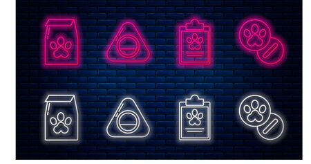 Set line Pet bed, Clipboard with medical clinical record pet, Bag of food for pet and Dog and pills. Glowing neon icon on brick wall. Vector Иллюстрация