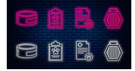Set line Clipboard with medical clinical record pet, Clipboard with medical clinical record pet, Canned food and Pet carry case. Glowing neon icon on brick wall. Vector Çizim