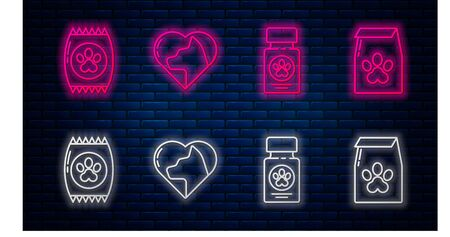 Set line Heart with cat, Dog medicine bottle and pills, Bag of food for pet and Bag of food for pet. Glowing neon icon on brick wall. Vector