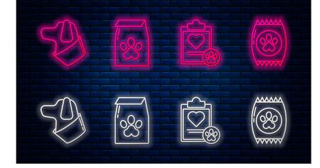 Set line Bag of food for pet, Clipboard with medical clinical record pet, Dog and Bag of food for pet. Glowing neon icon on brick wall. Vector