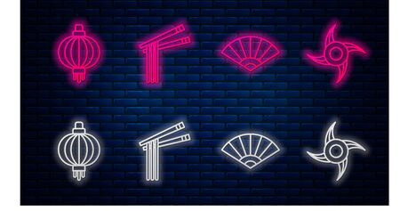 Set line Asian noodles and chopsticks, Paper chinese or japanese folding fan, Japanese paper lantern and Japanese ninja shuriken. Glowing neon icon on brick wall. Vector