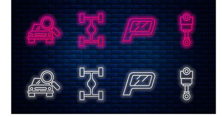 Set line Chassis car, Car mirror, Car search and Engine piston. Glowing neon icon on brick wall. Vector