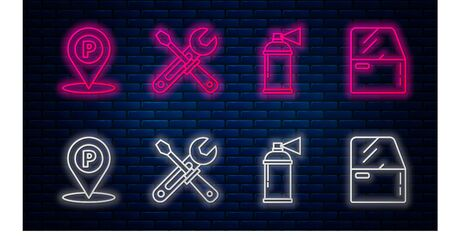 Set line Screwdriver and wrench tools, Paint spray can, Location with parking and Car door. Glowing neon icon on brick wall. Vector Vector Illustration