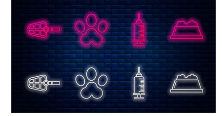 Set line Paw print, Syringe with pet vaccine, Dog muzzle and Pet food bowl. Glowing neon icon on brick wall. Vector Иллюстрация