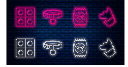 Set line Collar with name tag, Bag of food for pet, Dog and pills and Cat. Glowing neon icon on brick wall. Vector