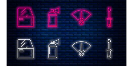 Set line Paint spray can, Speedometer, Car door and Screwdriver. Glowing neon icon on brick wall. Vector Vettoriali