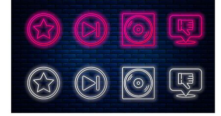 Set line Fast forward, Vinyl disk, Star and Dislike in speech bubble. Glowing neon icon on brick wall. Vector