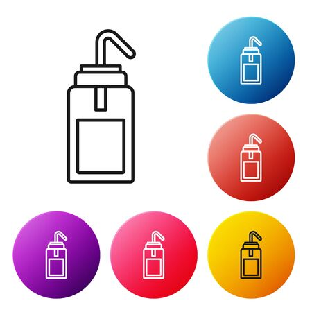 Black line Laboratory wash bottle for chemistry and science lab icon isolated on white background. Equipment for spraying water and solvents. Set icons colorful circle buttons. Vector Illustration