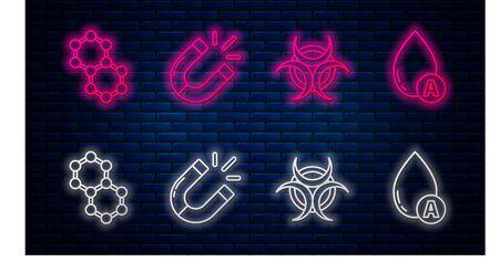 Set line Magnet, Biohazard symbol, Molecule and Water drop. Glowing neon icon on brick wall. Vector