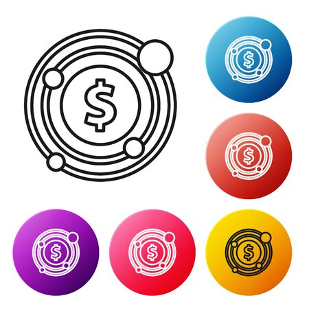 Black line Target with dollar symbol icon isolated on white background. Investment target icon. Successful business concept. Cash or Money. Set icons colorful circle buttons. Vector Illustration