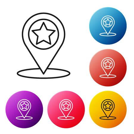 Black line Map pointer with star icon isolated on white background. Star favorite pin map icon. Map markers. Set icons colorful circle buttons. Vector Illustration Banque d'images - 139538954