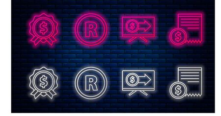 Set line Registered Trademark, Monitor with dollar, Price tag with dollar and Paper check and financial check. Glowing neon icon on brick wall. Vector