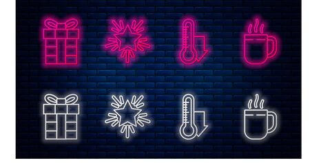 Set line Christmas star, Meteorology thermometer measuring, Gift box and Coffee cup. Glowing neon icon on brick wall. Vector