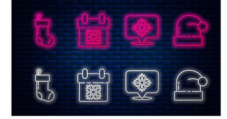 Set line Calendar, Snowflake with speech bubble, Christmas stocking and Christmas Santa Claus hat. Glowing neon icon on brick wall. Vector