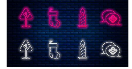 Set line Christmas stocking, Burning candle in candlestick, Christmas tree and Snowflake with speech bubble. Glowing neon icon on brick wall. Vector