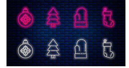 Set line Christmas tree, Christmas mitten, Christmas ball and Christmas stocking. Glowing neon icon on brick wall. Vector