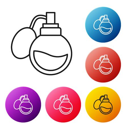 Black line Perfume icon isolated on white background. Set icons colorful circle buttons. Vector Illustration