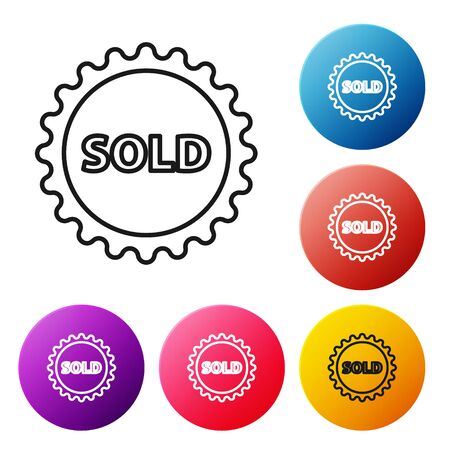 Black line Sold label icon isolated on white background. Set icons colorful circle buttons. Vector Illustration
