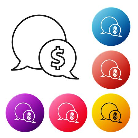 Black line Speech bubble with dollar icon isolated on white background. Badge for price. Sale with dollar symbol. Promo tag discount. Set icons colorful circle buttons. Vector Illustration