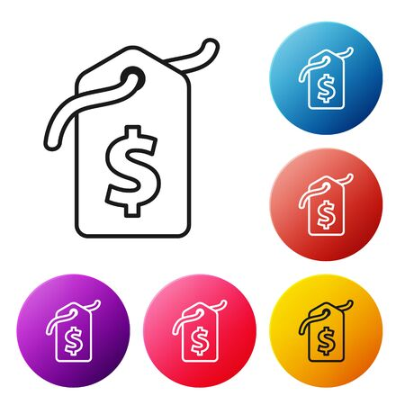 Black line Price tag with dollar icon isolated on white background. Badge for price. Sale with dollar symbol. Promo tag discount. Set icons colorful circle buttons. Vector Illustration