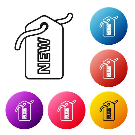 Black line Price tag with an inscription New icon isolated on white background. Badge for price. Promo tag discount. Set icons colorful circle buttons. Vector Illustration
