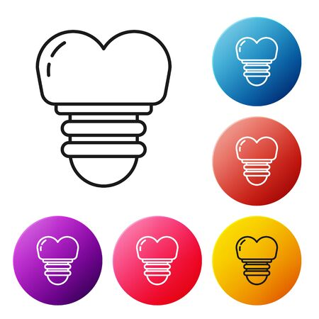 Black line Dental implant icon isolated on white background. Set icons colorful circle buttons. Vector Illustration