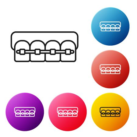 Black line Teeth with braces icon isolated on white background. Alignment of bite of teeth, dental row with with braces. Dental concept. Set icons colorful circle buttons. Vector Illustration
