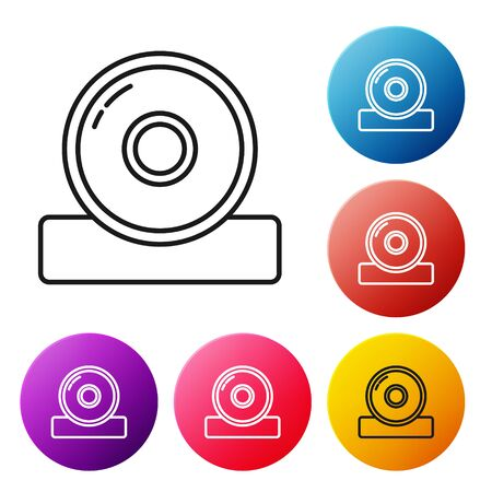 Black line Otolaryngological head reflector icon isolated on white background. Equipment for inspection the patients ear, throat and nose. Set icons colorful circle buttons. Vector Illustration