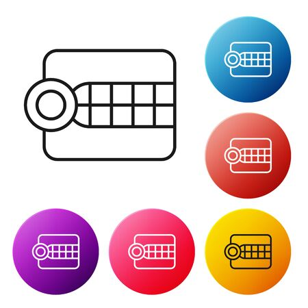 Black line Dentures model icon isolated on white background. Dental concept. Set icons colorful circle buttons. Vector Illustration