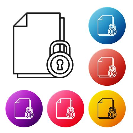 Black line Document and lock icon isolated on white background. File format and padlock. Security, safety, protection concept. Set icons colorful circle buttons. Vector Illustration Illusztráció