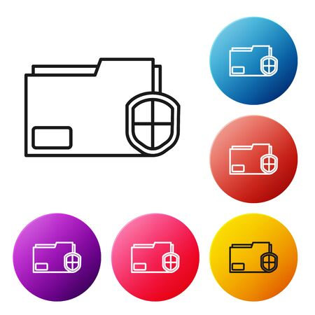 Black line Document folder protection concept icon isolated on white background. Confidential information and privacy idea, guard, shield. Set icons colorful circle buttons. Vector Illustration
