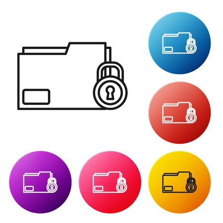 Black line Folder and lock icon isolated on white background. Closed folder and padlock. Security, safety, protection concept. Set icons colorful circle buttons. Vector Illustration Illusztráció