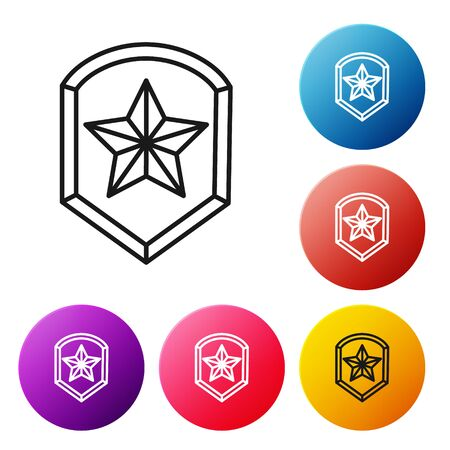 Black line Police badge icon isolated on white background. Sheriff badge sign. Shield with star symbol. Set icons colorful circle buttons. Vector Illustration 일러스트