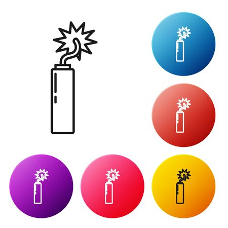 Black line Detonate dynamite bomb stick clock icon isolated on white background. Time bomb - explosion danger concept. Set icons colorful circle buttons. Vector Illustration