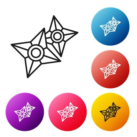 Black line Japanese ninja shuriken icon isolated on white background. Set icons colorful circle buttons. Vector Illustration