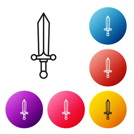 Black line Medieval sword icon isolated on white background. Set icons colorful circle buttons. Vector Illustration Vettoriali