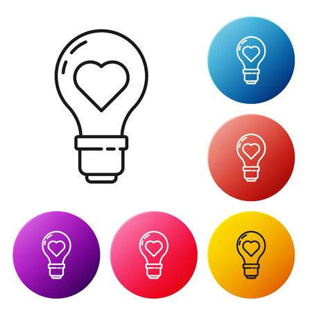 Black line Heart shape in a light bulb icon isolated on white background. Love symbol. Valentine day symbol. Set icons colorful circle buttons. Vector Illustration Vektorgrafik