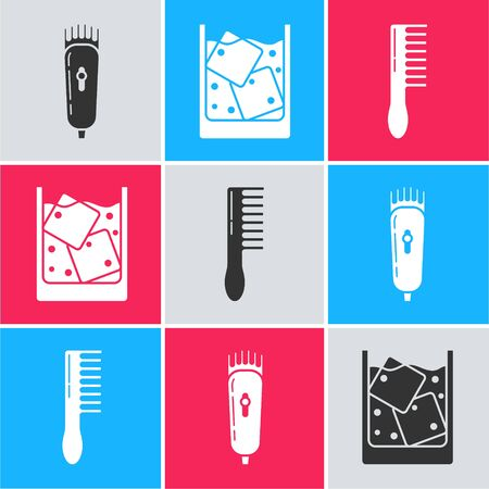 Set Electrical hair clipper or shaver, Glass of whiskey and ice cubes and Hairbrush icon. Vector 向量圖像