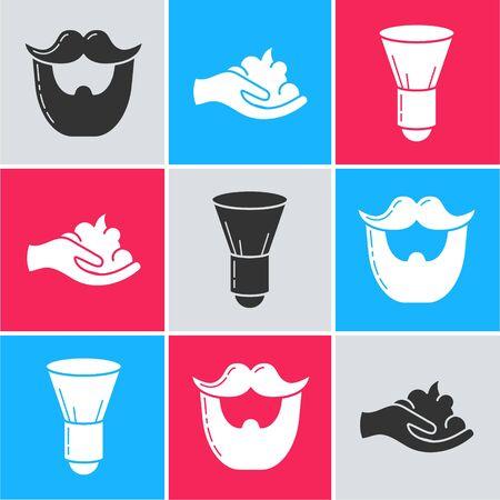Set Mustache and beard, Shaving gel foam on hand and Shaving brush icon. Vector Vettoriali