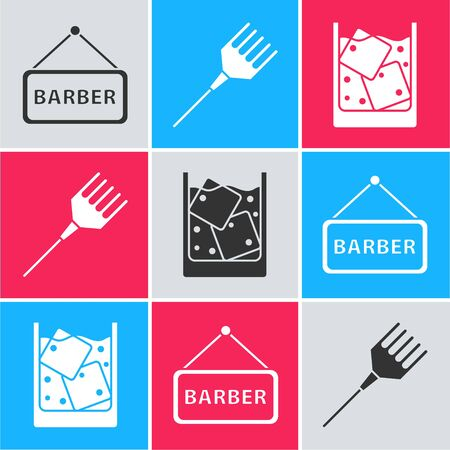 Set Barbershop, Hairbrush and Glass of whiskey and ice cubes icon. Vector