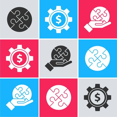 Set Piece of puzzle, Gear with dollar symbol and Piece of puzzle in hand icon. Vector Ilustracja