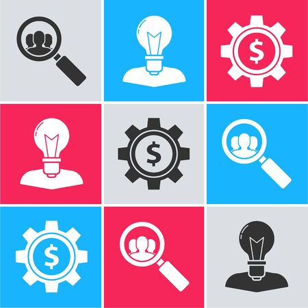 Set Magnifying glass for search a people, Human head with lamp bulb and Gear with dollar symbol icon. Vector Ilustracja