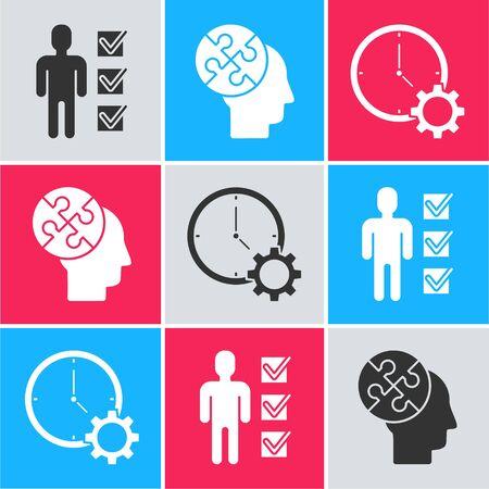 Establecer usuario de hombre en traje de negocios, estrategia de rompecabezas de cabeza humana e icono de gestión del tiempo. Vector Ilustración de vector