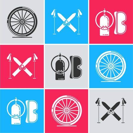 Set Bicycle wheel, Ski and sticks and Diving mask and aqualung icon. Vector