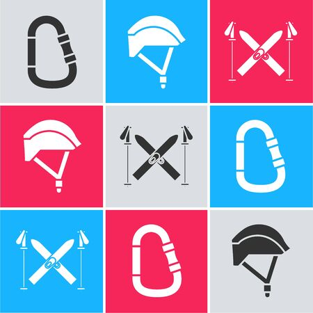 Set Carabiner, Bicycle helmet and Ski and sticks icon. Vector Ilustrace