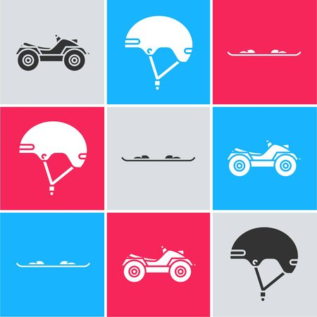 Set All Terrain Vehicle or ATV motorcycle, Helmet and Snowboard icon. Vector